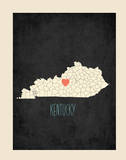 Personalized Vintage Kentucky State Map Prints by Rebecca Peragine