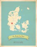 Denmark My Roots Map, blue version (includes stickers) Reprodukcje autor Rebecca Peragine