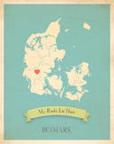 My Roots Denmark Map - blue Prints by Rebecca Peragine