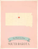 South Dakota My Roots Map, pink version (includes stickers) Prints by Rebecca Peragine