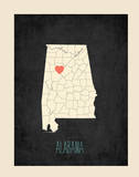 Alabama Personalized State Map (includes stickers) Poster by Rebecca Peragine