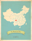My Roots China Map - blue Prints by Rebecca Peragine