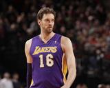 Mar 3, 2014, Los Angeles Lakers vs Portland Trail Blazers - Pau Gasol Photographic Print by Cameron Browne