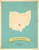 Ohio My Roots Map, blue version (includes stickers) Prints by Rebecca Peragine