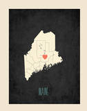 Maine Personalized State Map (includes stickers) Art by Rebecca Peragine