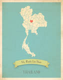 My Roots Thailand Map - blue Print by Rebecca Peragine