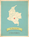 My Roots Colombia Map - blue Print by Rebecca Peragine