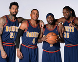 Denver Nuggets 1993-1994 Uniform Shoot - Ty Lawson, Wilson Chandler, Randy Foye, Kenneth Faried Photographic Print by Garrett Ellwood