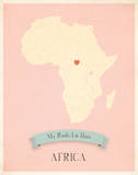 My Roots Africa Map - pink Posters by Rebecca Peragine
