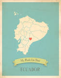 My Roots Ecuador Map - blue Print by Rebecca Peragine