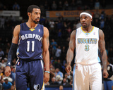 Mar 31, 2014, Memphis Grizzlies vs Denver Nuggets - Mike Conley, Ty Lawson Photographic Print by Bart Young