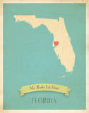 Florida My Roots Map, blue version (includes stickers) Print by Rebecca Peragine
