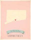 Connecticut My Roots Map, pink version (includes stickers) Prints by Rebecca Peragine