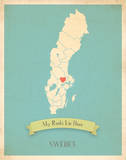 Sweden My Roots Map, blue version (includes stickers) Poster par Rebecca Peragine
