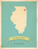 Illinois My Roots Map, blue version (includes stickers) Posters by Rebecca Peragine