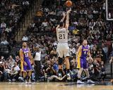 Mar 14, 2014, Los Angeles Lakers vs San Antonio Spurs - Tim Duncan Photographic Print by D. Clarke Evans