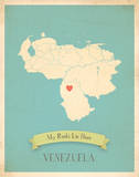 My Roots Venezuela Map - blue Prints by Rebecca Peragine