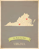 Virginia My Roots Map, clay version (includes stickers) Posters by Rebecca Peragine
