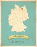 Germany My Roots Map, blue version (includes stickers) Posters by Rebecca Peragine
