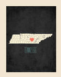 Tennessee Personalized My Roots Map (includes stickers) Print by Rebecca Peragine