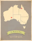 My Roots Australia Map - clay Prints by Rebecca Peragine
