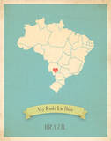Brazil My Roots Map, blue version (includes stickers) Posters by Rebecca Peragine