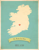 My Roots Ireland Map - blue Posters by Rebecca Peragine