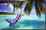 Playa tropical Reproducción en lienzo de la lámina