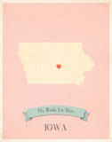 Iowa My Roots Map, pink version (includes stickers) Posters by Rebecca Peragine