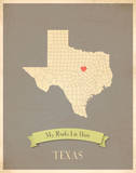 Texas My Roots Map, clay version (includes stickers) Poster by Rebecca Peragine