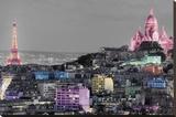Paris-Colour Splash Stretched Canvas Print