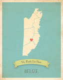 Belize My Roots Map, blue version (includes stickers) Art by Rebecca Peragine