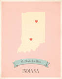 Indiana My Roots Map, pink version (includes stickers) Reprodukcje autor Rebecca Peragine