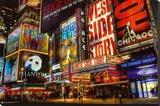 Times Square Tiyatro Bölgesi - Şasili Gerilmiş Tuvale Reprodüksiyon