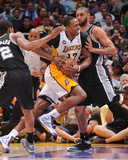 Apr 28, 2013, San Antonio Spurs vs Los Angeles Lakers (Game Four) - Tim Duncan, Dwight Howard Photo by Andrew Bernstein