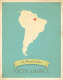 My Roots South America Map - blue Prints by Rebecca Peragine