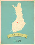 My Roots Finland Map - blue Posters by Rebecca Peragine