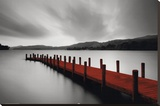 Wooden Landing Jetty-Red Stretched Canvas Print