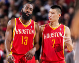 Apr 5, 2013, Houston Rockets vs Portland Trail Blazers - James Harden, Jeremy Lin Photographic Print by Sam Forencich