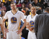 Mar 22, 2014, San Antonio Spurs vs Golden State Warriors - David Lee, Stephen Curry Photo by Rocky Widner