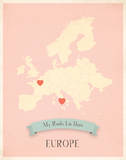Europe My Roots Map, pink version (includes stickers) Prints by Rebecca Peragine