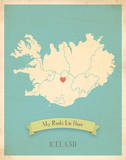 My Roots Iceland Map - blue Prints by Rebecca Peragine