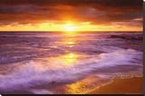 Sunset Cliffs Plajı, San Diego, Kaliforniya - Şasili Gerilmiş Tuvale Reprodüksiyon