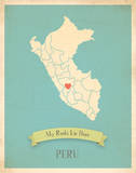 My Roots Peru Map - blue Print by Rebecca Peragine