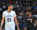 Mar 6, 2014, Miami Heat  vs San Antonio Spurs - LeBron James, Tim Duncan Photographic Print by Jesse D. Garrabrant