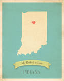 My Roots Indiana State Map - blue Prints by Rebecca Peragine