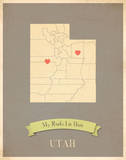 Utah My Roots Map, clay version (includes stickers) Poster by Rebecca Peragine