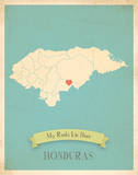 Honduras My Roots Map, blue version (includes stickers) Láminas por Rebecca Peragine
