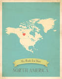 My Roots North America Map - blue Posters by Rebecca Peragine