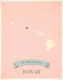 My Roots Hawaii State Map - pink Posters by Rebecca Peragine
